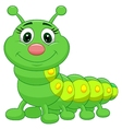 Cute green caterpillar cartoon vector image vector image