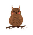 cute hand drawn owl isolated on white vector image