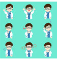 doctor with different emotions cartoon vector image vector image