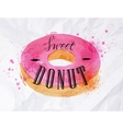Donut watercolor poster vector image
