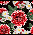 floral seamless pattern with hand drawn red dahlia vector image vector image