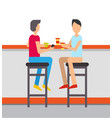 friends on weekends eating drinking at restaurant vector image vector image