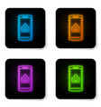 glowing neon smartphone with upload icon isolated vector image vector image