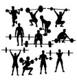 gym weightlifting silhouettes vector image vector image