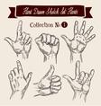 Hand drawn sketch set hands gestures vector image vector image