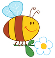 Happy Bee Flying With Flower vector image