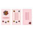 happy birthday greeting card three different vector image