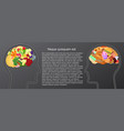 healthy and unhealthy food eat in human brain vector image