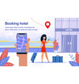 hotel booking smartphone app flat ad poster vector image vector image