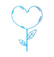 line beauty heart plant with leaves design vector image vector image