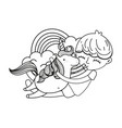line boy hugging unicorn with rainbow and clouds vector image vector image