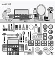 make up kit on table line monochrome vector image vector image