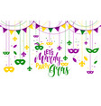 mardi gras colored frame with a mask and fleur-de vector image vector image