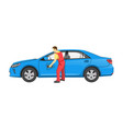 mechanic in uniform washes car after repairment vector image