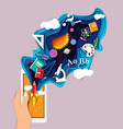 mobile education app in paper vector image