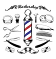 monochrome collection barbershop tools vector image vector image