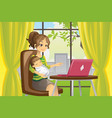 mother and bausing laptop vector image