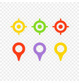 navigation pins and targets isolated on vector image vector image