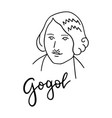 nikolai gogol line art portrait isolated on white vector image vector image