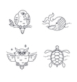 Parrot Owl Wheel and Turtle vector image vector image