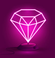 pink neon diamond on the stand glows vector image