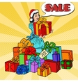 Pop Art Woman with Gift Boxes on Christmas Sale vector image vector image