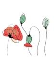 Poppy field in scandinavian style vector image vector image