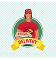 round icon on white background with pizza courier vector image vector image