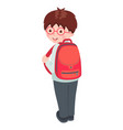 school boy character isolated on white vector image vector image