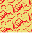 seamless yellow background with red floral pattern vector image