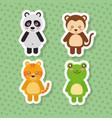 set cute animals wildlife fauna polka dots green vector image vector image