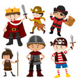 set of children in costumes vector image