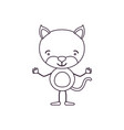 sketch contour caricature of cute kitten happiness vector image vector image