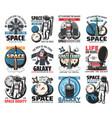 space icons astronaut in galaxy rocket vector image vector image