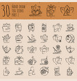 tea hand draw icon set - cup bag kettle with vector image vector image