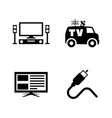 tv broadcast simple related icons vector image