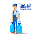 water delivery service man worker in blue vector image vector image