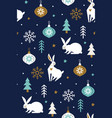 white hares in forest with snowflakes and vector image