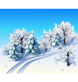 Winter landscape with trees and road vector image