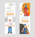 workmen builders and engineers with tools vector image