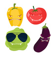 Scary vegetables Cabbage in glasses horrible vector image