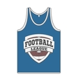 Sleeveless blue Shirt with Football Label vector image