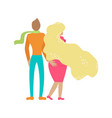 a couple in love walks in an embrace trendy vector image vector image