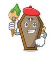 artist coffin character cartoon style vector image