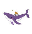 Big beautiful pink whale and three cute little vector image vector image