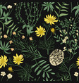 botanical seamless pattern with beautiful wild vector image