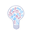 business doodle icons in lightbulb concept vector image