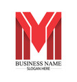 business red m letter logo template vector image vector image