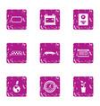 cab icons set grunge style vector image
