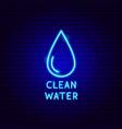 clean water neon label vector image